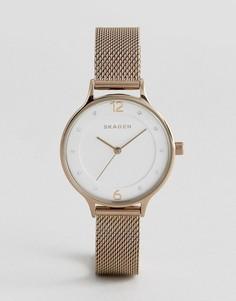Золотистые часы с сетчатым ремешком Skagen SKW2650 - Серебряный