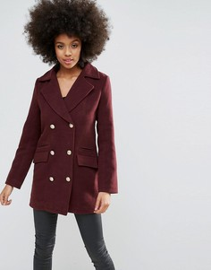 Бордовое короткое пальто в стиле милитари из искусственной шерсти Missguided - Красный