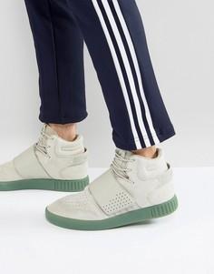 Серые кроссовки с ремешками adidas Originals Tubular Invader BY3635 - Серый