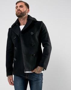 Шерстяное черное пальто со съемным воротником из искусственного меха Schott - Черный