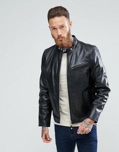 Черная кожаная байкерская куртка узкого кроя Schott - Черный
