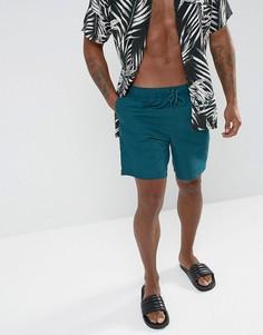 Сине-зеленые шорты для плавания средней длины ASOS - Зеленый