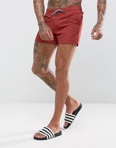 Бордовые короткие шорты для плавания ASOS - Красный