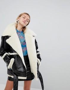 Куртка-авиатор на подкладке из искусственной цигейки Monki Premium - Черный