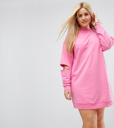 Свободное трикотажное платье ASOS CURVE - Розовый