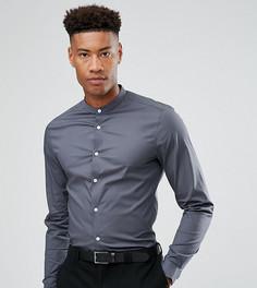 Серая рубашка узкого кроя с воротником-стойкой ASOS TALL - Серый