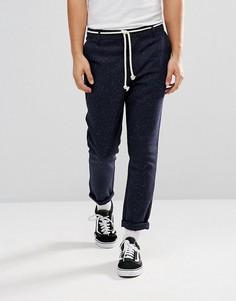 Темно-синие суженные книзу брюки с непсами ASOS - Темно-синий