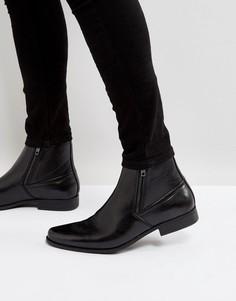 Черные ботинки челси из искусственной кожи с молниями ASOS - Черный