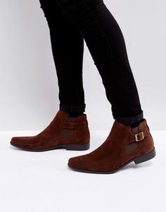Коричневые замшевые ботинки челси с ремешком ASOS - Коричневый