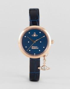 Часы с темно-синим кожаным ремешком и подвеской-орбитой Vivienne Westwood VV139NVNV - Темно-синий