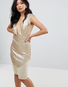 Платье цвета металлик Glamorous - Кремовый