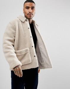 Светло-бежевая куртка из искусственного меха ASOS - Бежевый