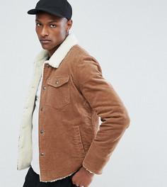 Коричневая вельветовая куртка на подкладке из искусственного меха ASOS TALL - Коричневый