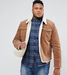 Коричневая вельветовая куртка с подкладкой из искусственного меха ASOS PLUS - Коричневый