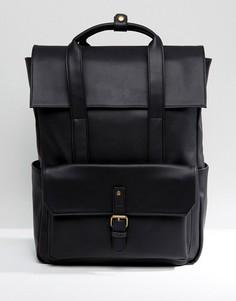 Черный рюкзак из искусственной кожи с откидным клапаном ASOS - Черный