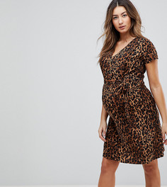 Платье с запахом и леопардовым принтом Mamalicious - Мульти Mama.Licious