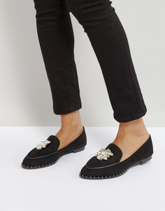 Туфли на плоской подошве с отделкой камнями Qupid - Черный