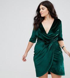 Бархатное платье с запахом Club L Plus - Зеленый
