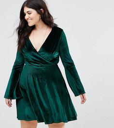 Бархатное платье с запахом и расклешенными рукавами Club L Plus - Зеленый