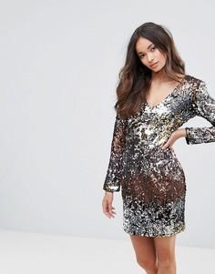 Платье мини с V-образным вырезом, пайетками и эффектом омбре Club L - Мульти