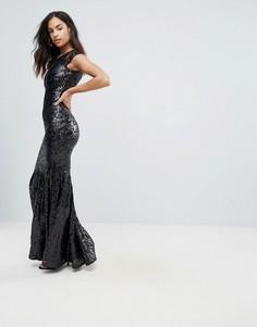 Платье макси с пайетками и сетчатыми вставками Club L - Черный