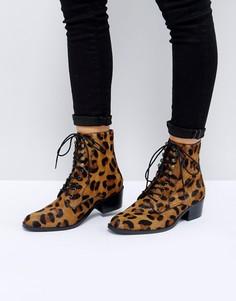 Кожаные ботинки на шнуровке ASOS AILEEN - Мульти