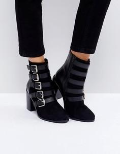 Кожаные ботинки с пряжками ASOS ELECT - Черный