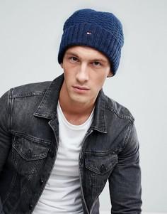 Темно-синяя меланжевая шапка-бини с логотипом Tommy Hilfiger - Темно-синий