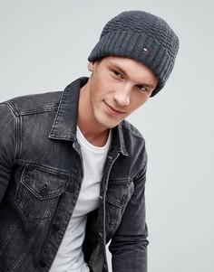 Темно-серая фактурная шапка-бини с логотипом Tommy Hilfiger - Серый