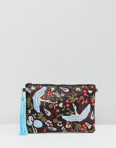 Клатч с вышивкой и кисточкой Yoki - Синий