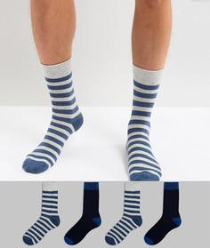 Набор из 4 пар носков в полоску Jack & Jones - Темно-синий