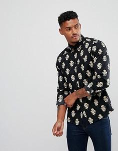 Рубашка узкого кроя с принтом пейсли ASOS - Черный