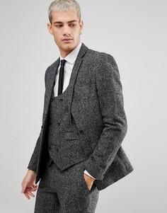 Приталенный пиджак в клетку с добавлением шерсти ASOS - Черный
