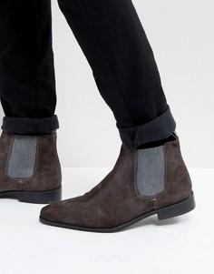 Темно-серые замшевые ботинки челси Dune - Серый