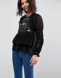 Блузка с вышивкой ASOS - Черный