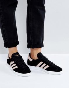 Черные кроссовки с бархатными полосками adidas Originals Gazelle - Черный