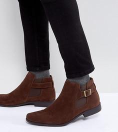 Коричневые ботинки челси из искусственной замши для широкой стопы ASOS - Коричневый