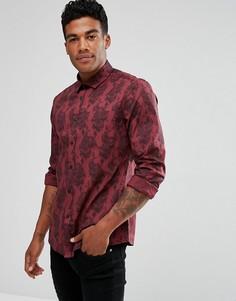 Приталенная эластичная рубашка с принтом пейсли ASOS - Красный