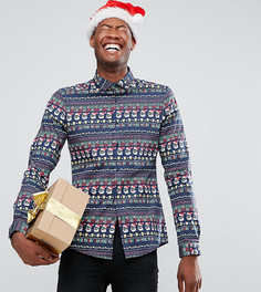 Эластичная новогодняя рубашка с праздничным принтом ASOS TALL - Темно-синий