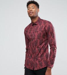 Узкая эластичная рубашка с принтом пейсли ASOS TALL - Красный
