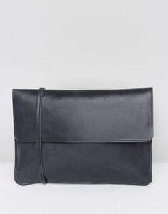 Маленькая кожаная сумка через плечо со съемным ремешком ASOS - Черный