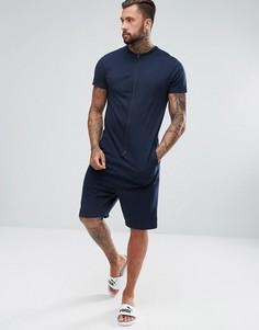 Легкий комбинезон с шортами заниженного кроя ASOS - Темно-синий