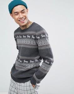 Новогодний джемпер из 100% хлопка Selected Homme - Серый