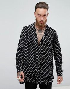 Длинная оверсайз-рубашка из вискозы с заниженной линией плеч и принтом пейсли ASOS - Черный