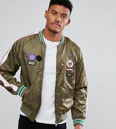 Атласная куртка с нашивками Diesel - Зеленый