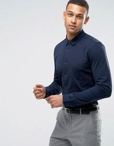 Трикотажная приталенная рубашка Threadbare Premium - Темно-синий