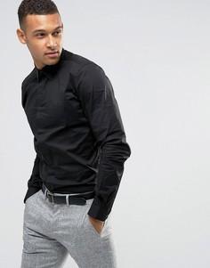 Эластичная хлопковая рубашка узкого кроя Threadbare Premium - Черный