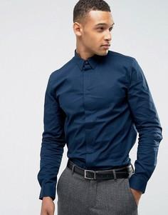 Эластичная хлопковая рубашка узкого кроя Threadbare Premium - Темно-синий