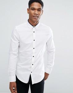 Приталенная рубашка с контрастной отделкой Threadbare Premium - Белый