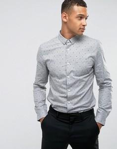 Рубашка узкого кроя в горошек Threadbare Premium - Серый
